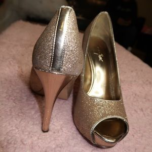 """Opened-toe Sparkly 4"""" Champagne Gold Heels"""